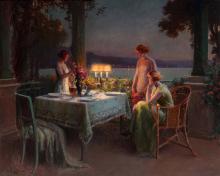 Delphin ENJOLRAS (1857-1945)   Le diner sur la terrasse