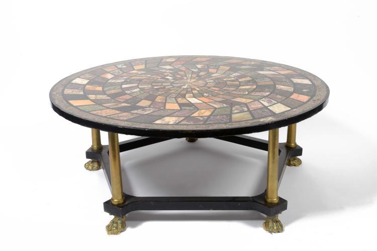 Table basse circulaire en marqueterie de marbre d cor g om - Table basse deco ...