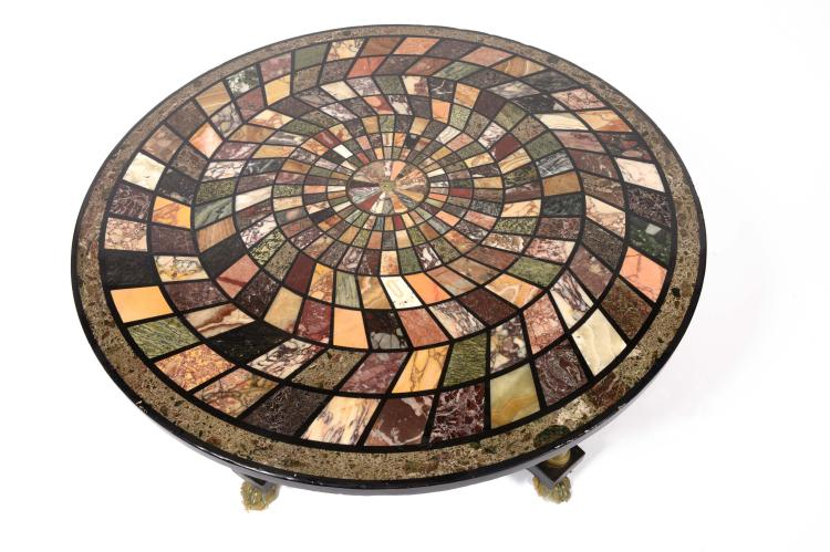 Table basse circulaire en marqueterie de marbre d cor g om for Pietement table metal