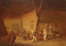 Bartholomeus MOLENAER   (? - Haarlem 1650)   Une scène de taverne : paysans dansant au son de la flûte   Panneau   49 x 67 cm   Trace de monogramme en bas à droite