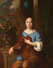Johannes I VOORHOUT (1647-1723) Jeune femme assise à la fenêtre   Huile sur toile   65 x 50,5 cm