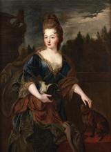 Attribué à Pierre GOBERT   (1662-1744)   Portrait de jeune femme au chien   Huile sur toile   130 x 98 cm