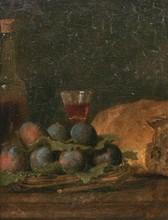 École Française du XVIIIe   Nature morte aux prunes   Huile sur toile   32 x 24 cm