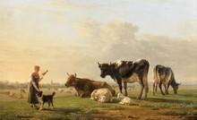 Jean-Baptiste BERRE (1777-1838) Jeune bergère et son chien gardant son troupeau Panneau 17,5 x 29,5 cm Signé en bas à droite et cachet de collection au dos du panneau Inscription au dos du panneau : Berré, 1823/vente du Baron d'Holbach/le 7 mai 1869
