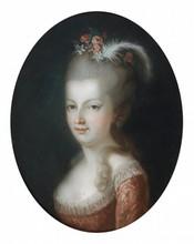 Pastel ovale représentant Marie-Antoinette   (A figuré à l'exposition de Versailles en 1955)   40 x 30 cm