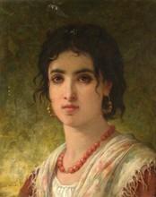 Jules SALLES (1814-1898)   Portrait d'une jeune italienne   Huile sur toile signée en bas à gauche   46 x 38 cm