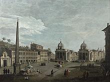 ATTRIBUÉ À GIUSEPPE ZOCCHI (1711 - 1767) La Piazza del Popolo à Rome