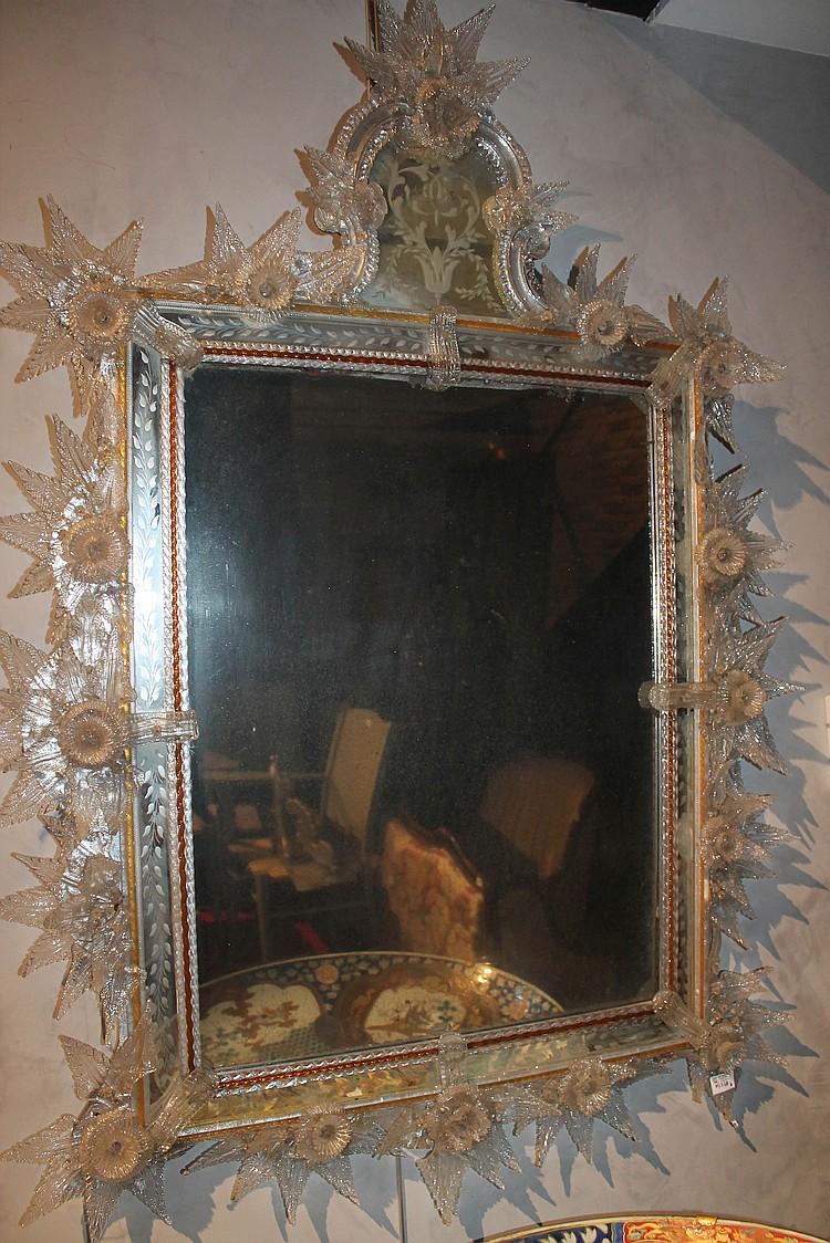 Miroir rectangulaire en verre de venise for Petit miroir rectangulaire