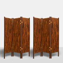 A Pair of Percival Lafer Style Brazilian Rosewood 3-Panel Screens