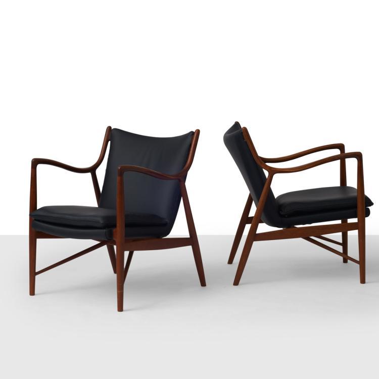 Finn Juhl, Pair of NV45 Chairs for Neils Vodder