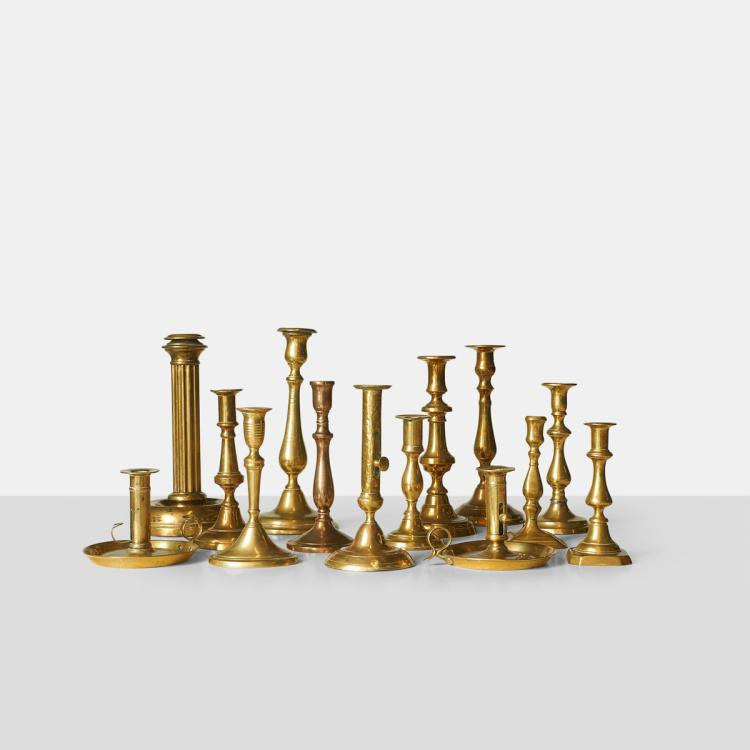 Collection of Brass Candleholders