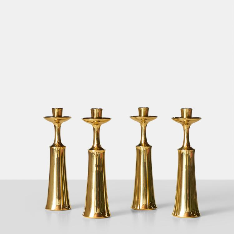 Jens Quistgaard, Set of 4 Brass Candleholders