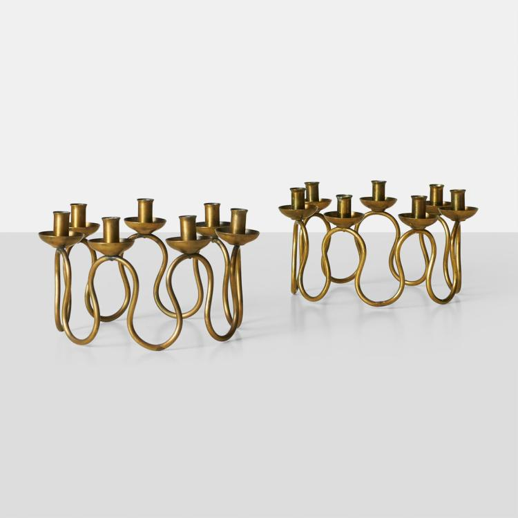 Joseph Frank, Set of Brass Candlestands