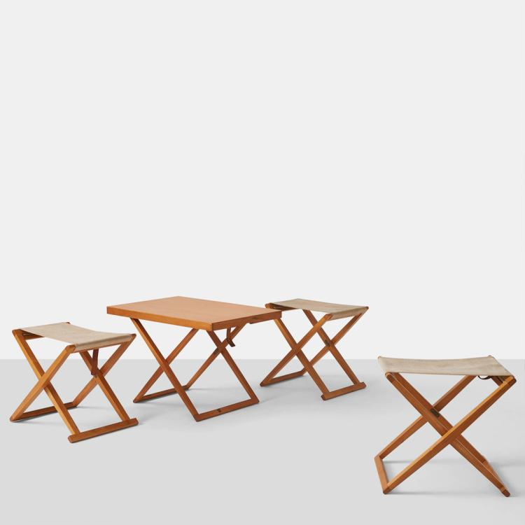 Mogens Koch, Folding Table and Trio of Stools