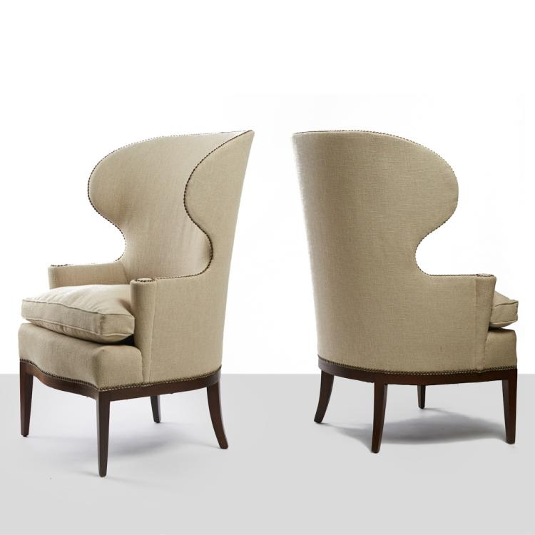 Rare Edward Wormley Pair of Early Club Chairs