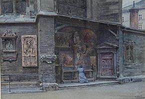 """ERNST GRANER (1865-1943) """"The corner of St. Mark's"""