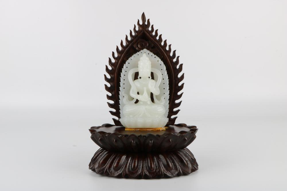 White Jade Guanyin with holder