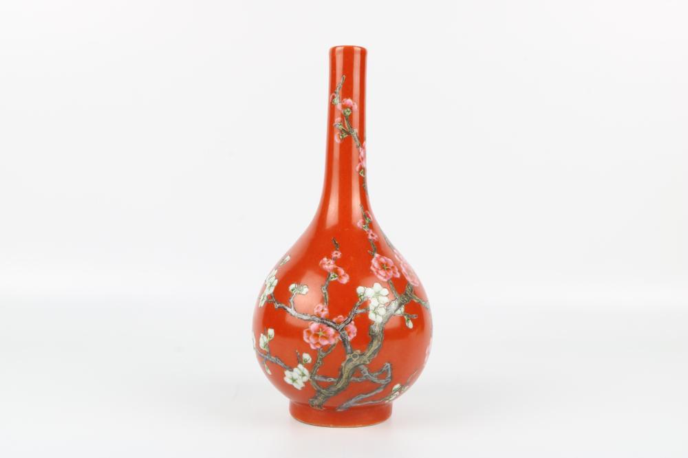 Red glazed bottle