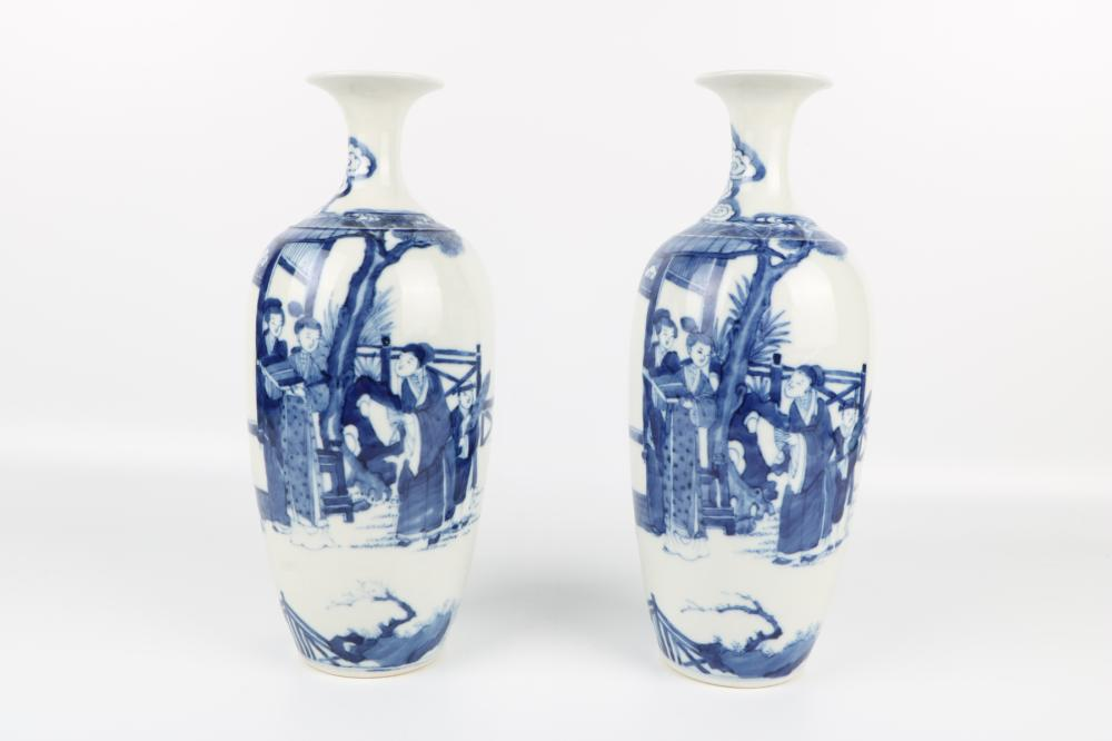 Pair of blue and white figures vases