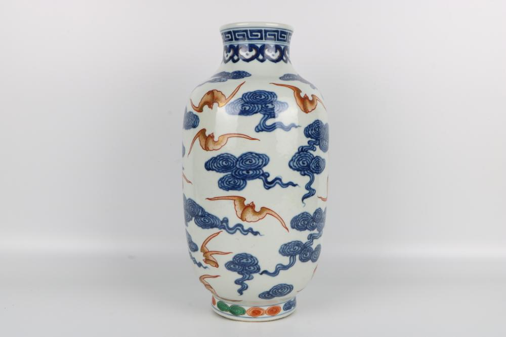 Blue and white famille rose jar