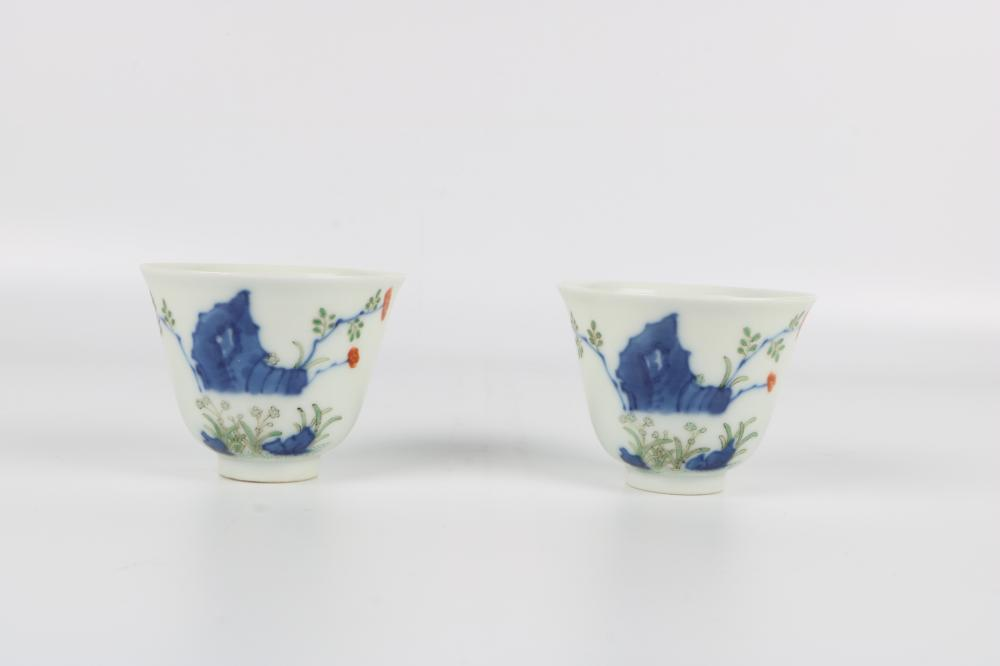 Pair of blue and white cups