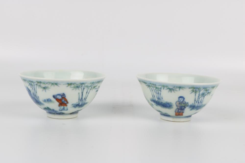 Pair of Doucai blue and white cups