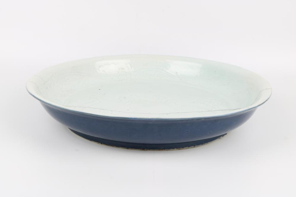 Blue and white glazed large plate