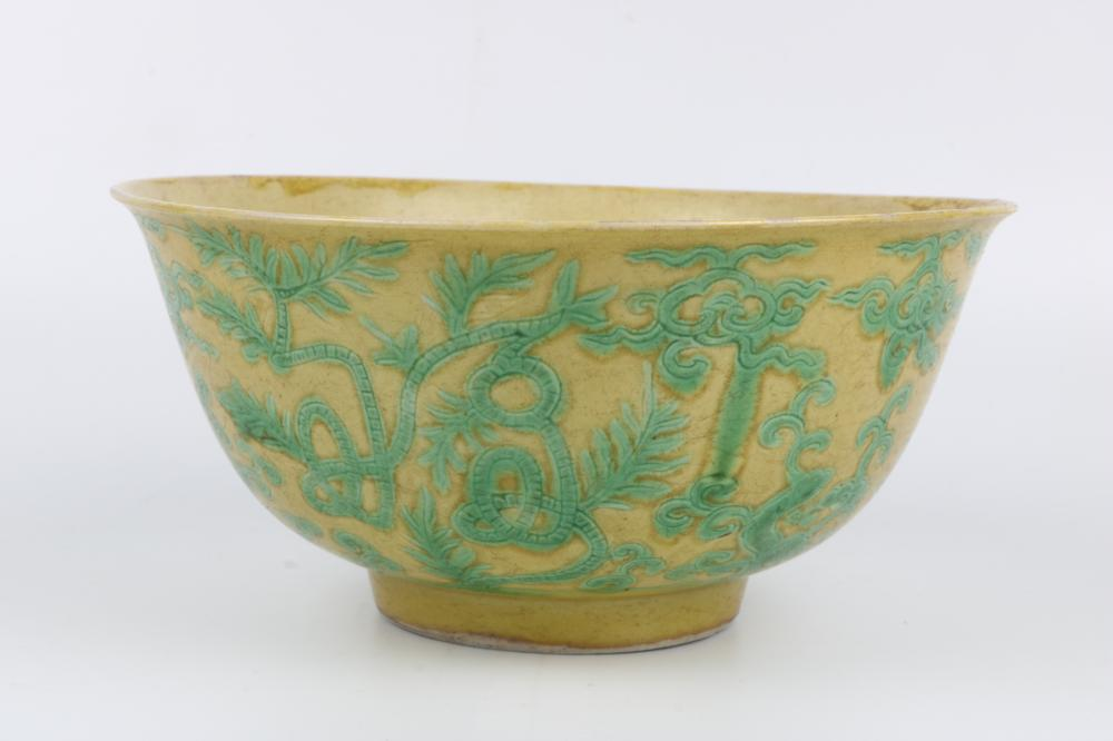 Yellow glaze green color bowl