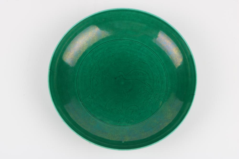 Green glazed plate