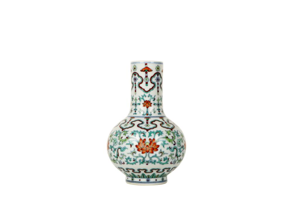 Chinese Qing Dynasty , Yongzheng Bucket trophy pattern celestial bottle vase