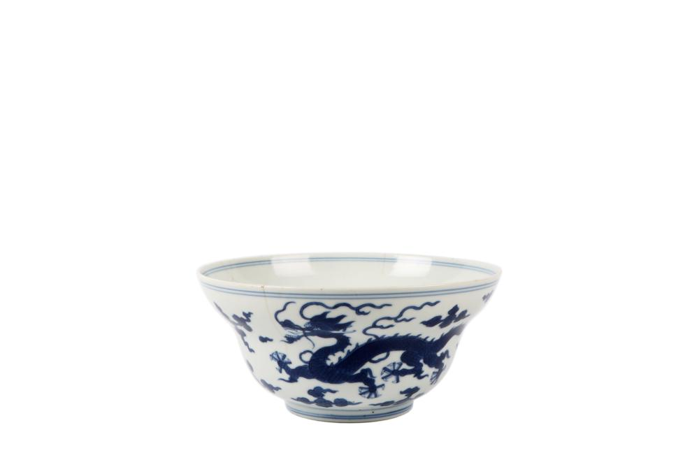 Qing Daoguang Blue and White Dragon painting Bowl