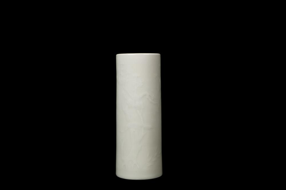 Qing Yongzhen white Jade Bird scrupltured pen vase