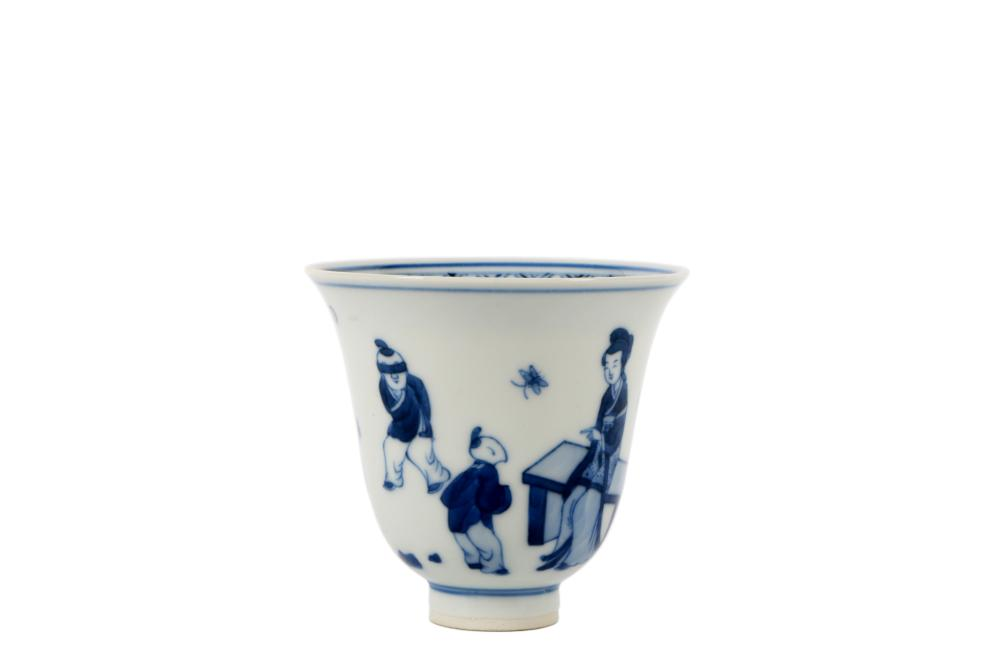 Qing Dynasty Blue and White Character Bell Cup