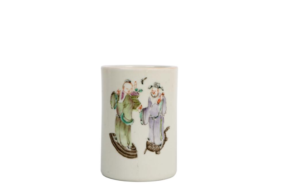 Late Qing Character painting Porcelain Bursh pot
