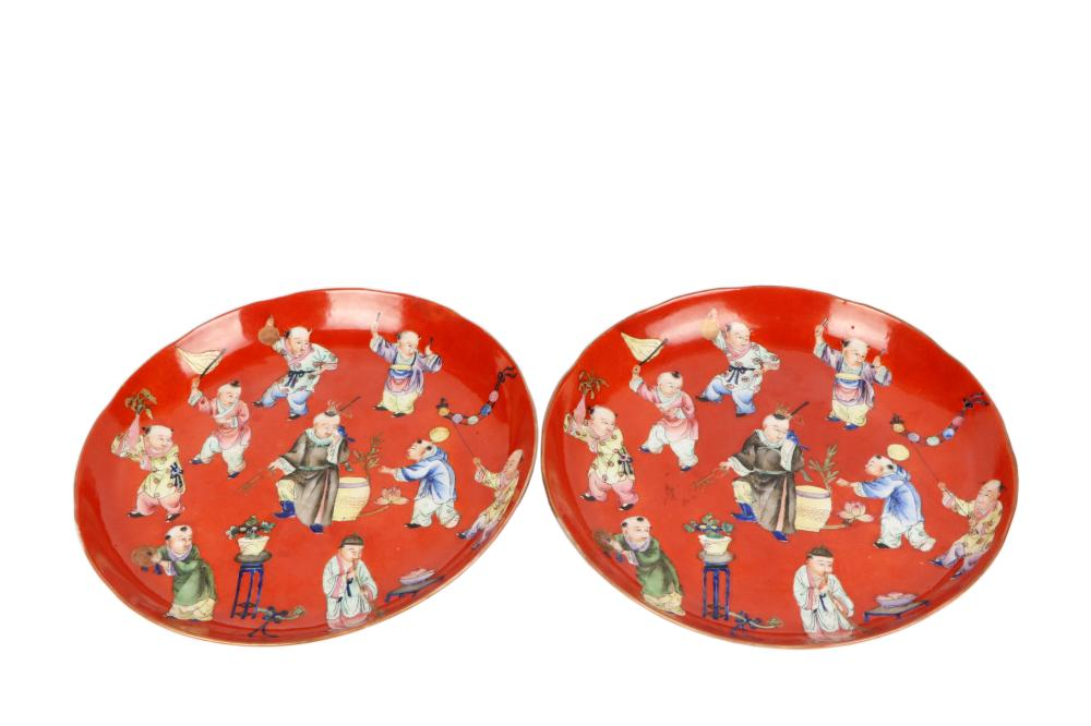 Red glazed with character painted plate  one pair