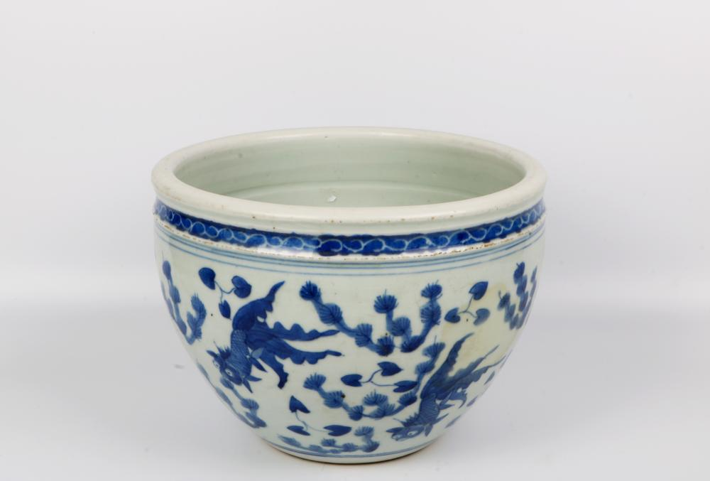 White and blue glazed large porcelain pot