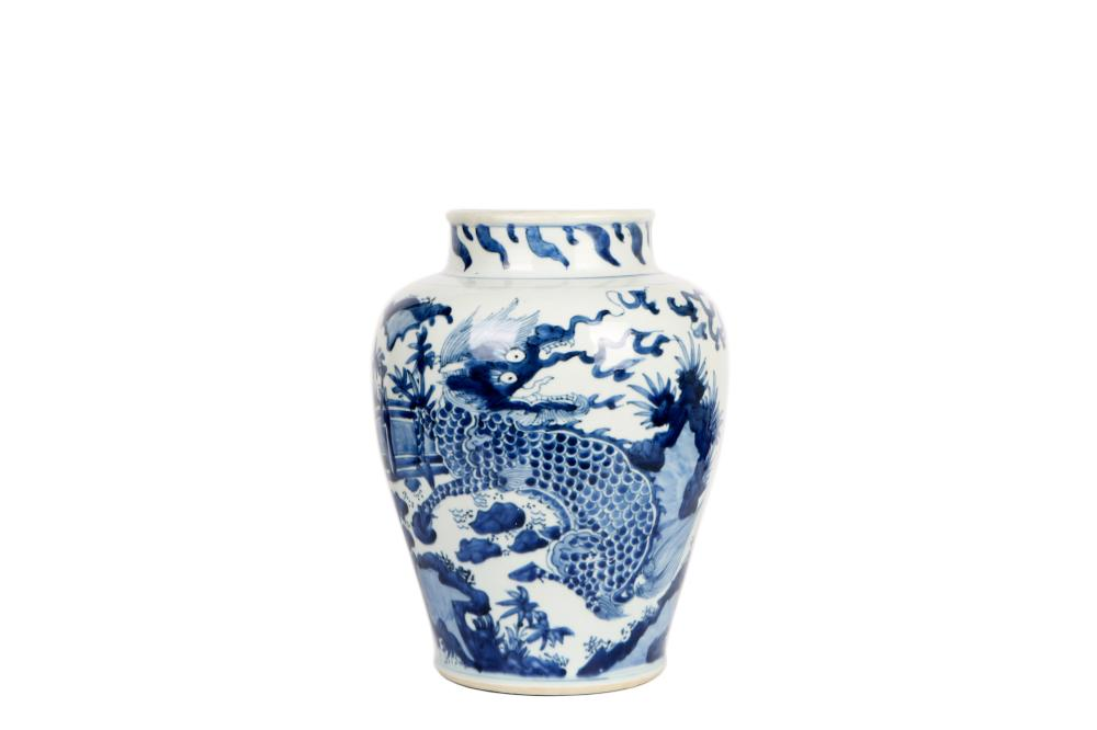 Qing SHunzhi  Porcelain  White and Blue Glazed Vase