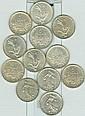 NUMISMATIQUE: Lot de 12 pièces de 5 Francs argent,