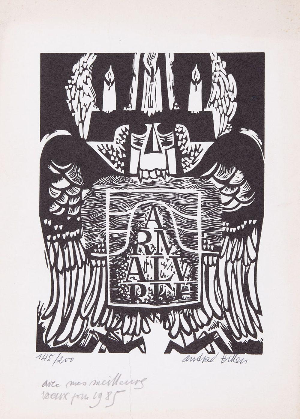André BILLEN - Carte de voeux illustrée pour 1985.