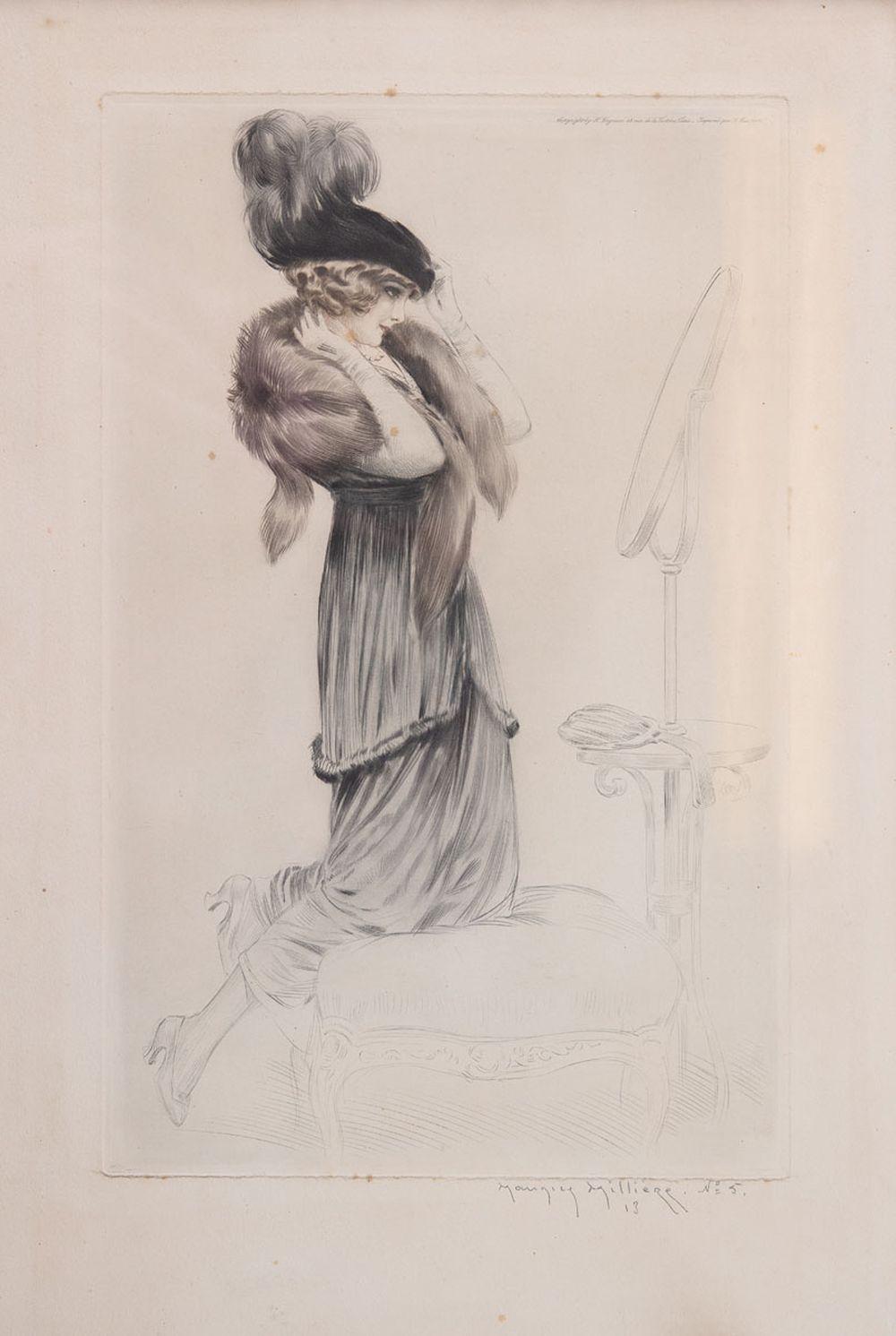 Maurice MILLIÈRE - Jeune femme se regardant dans un mir