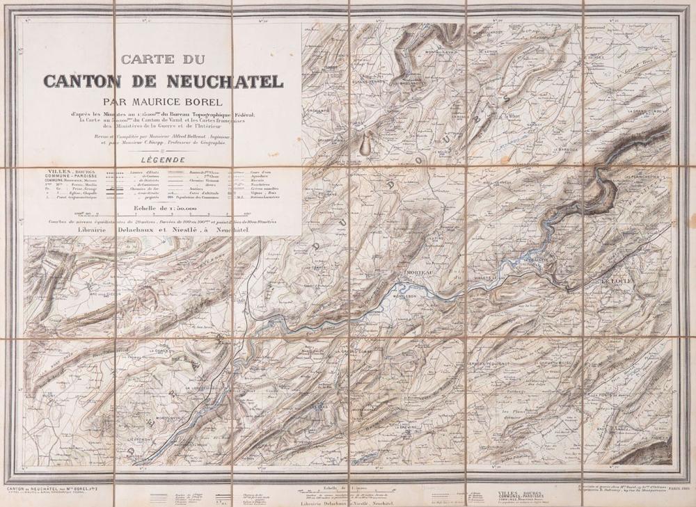 [SUISSE] Maurice BOREL - Carte du canton de Neuchâtel.