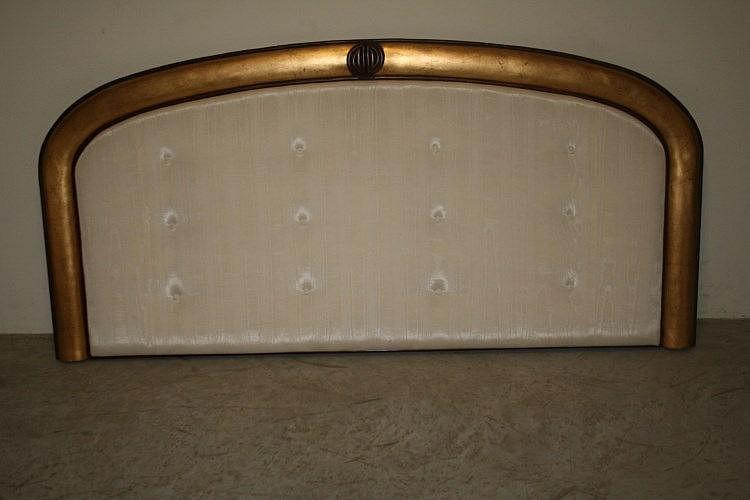 t te de lit soie beige matelass or acajou 203x1. Black Bedroom Furniture Sets. Home Design Ideas