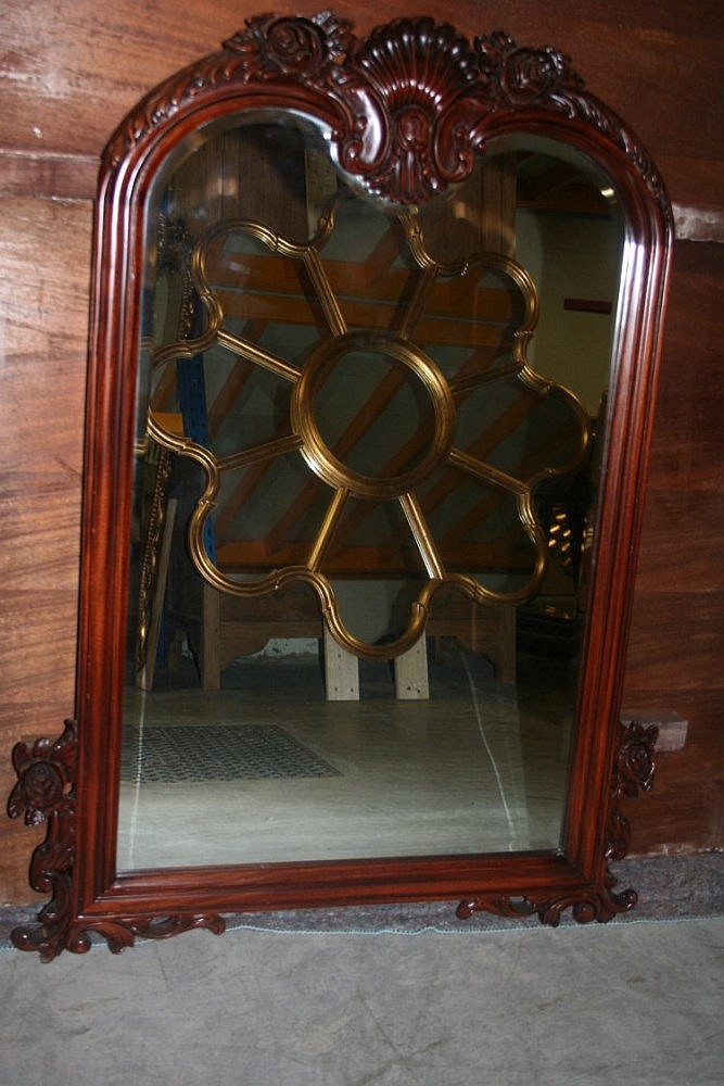 miroir rectangulaire patine acajou 108x65