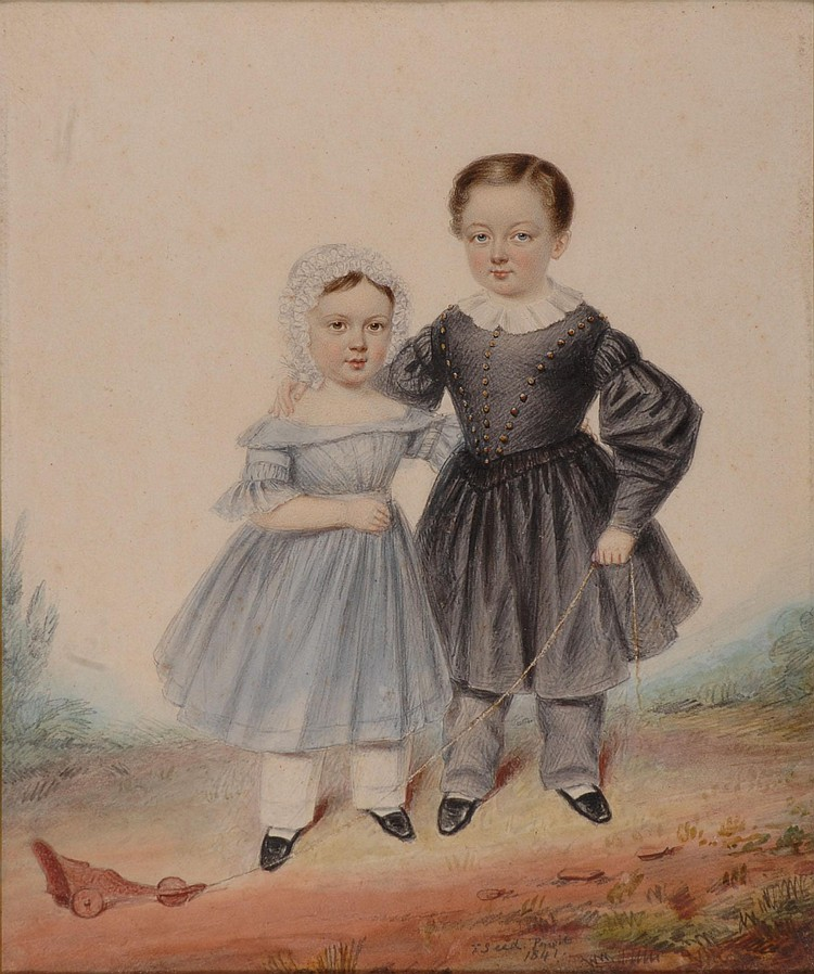 T* SEED, BRITISH C.1840 full portrait of a young