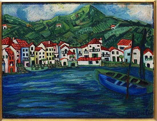 NAHUI OLIN, Caserío frente al mar, Firmado, Óleo / tablero, 46 x 60 , Publicado en libro de la artista, exhibido Museo Estudio DRivera.