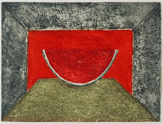 RUFINO TAMAYO, Interior con sandía, 1975, Firmada, Aguafuerte 23 / 75, 56 x 76 cm, aparece en el catálogo razonado del artista.