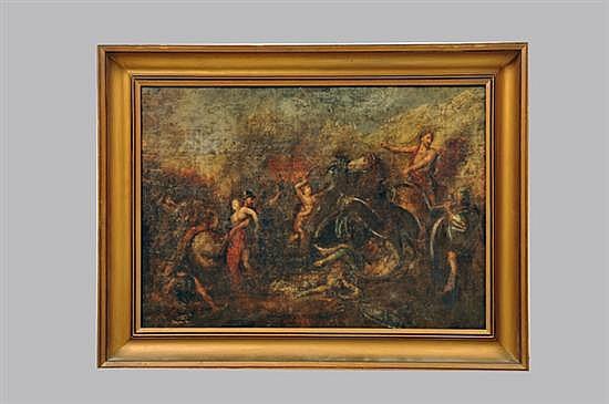 Firmado J. Agunt?. Rapto de las Sabinas. Finales del siglo XVIII. Óleo sobre tela. Enmarcada y firmada (reverso). Detalles.