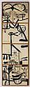 SERGIO HERNÁNDEZ, Corrida de toros, Firmada y fechada 3- III- 85. Tinta sobre papel amate sobre tela, 182 x 50 cm