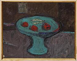 ENRIQUE ECHEVERRÍA. Frutero azul. Firmado. Óleo sobre tela. 40 x 50 cm. Vo.Bo. Maestra Esther Echeverría