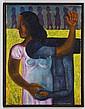 RODOLFO MORALES, Sin título, Firmado. Óleo sobre tela, 100 x 76 cm. Vo.Bo. Víctor González de Fundación Arte de Oaxaca.